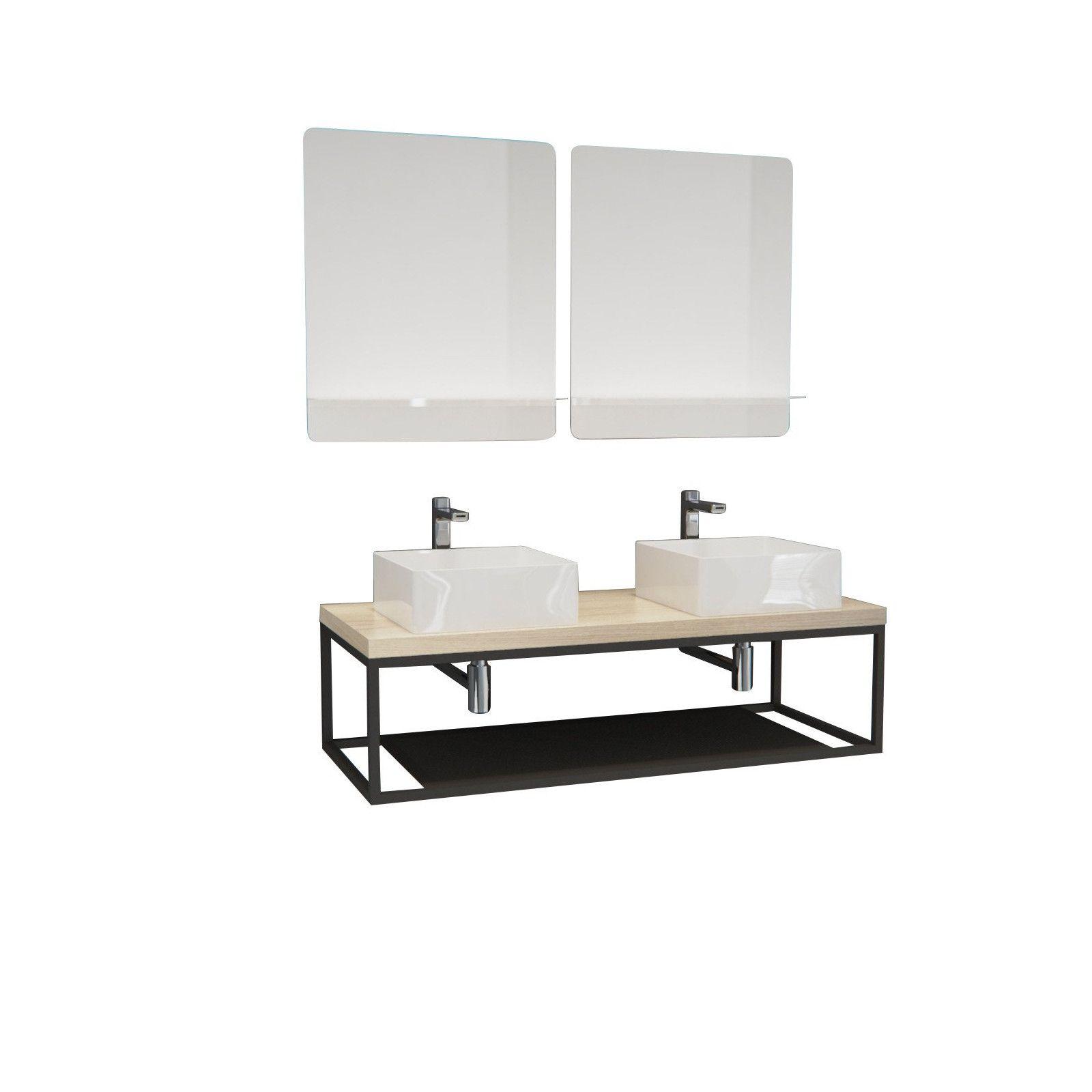 Ensemble de Salle de Bain WILL - Plan suspendu 120 cm + Structure métal + 2 Vasques + 2 Miroirs