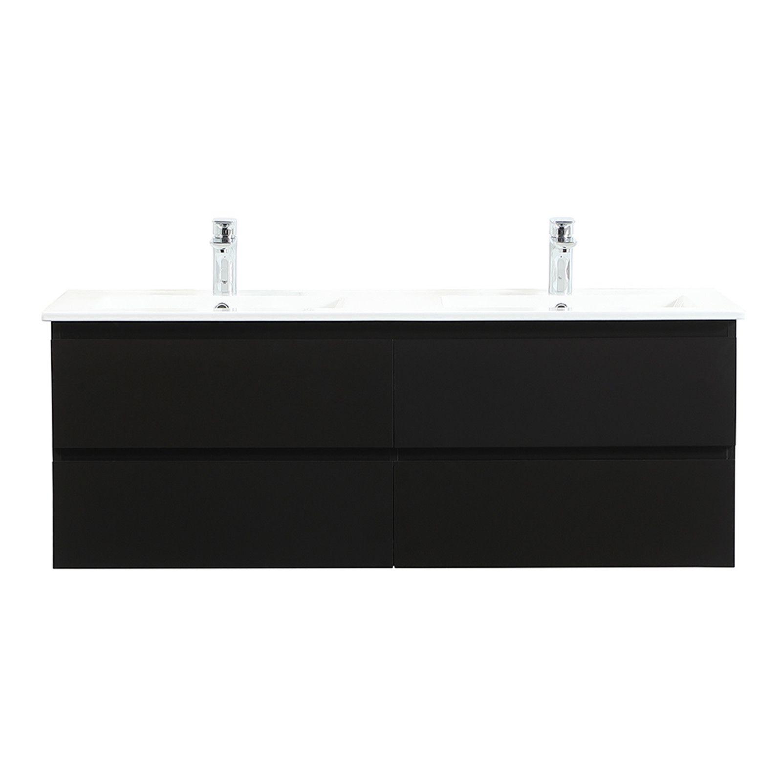 Meuble de Salle de Bain Double Vasque 120 cm Noir Carbone SORRENTO