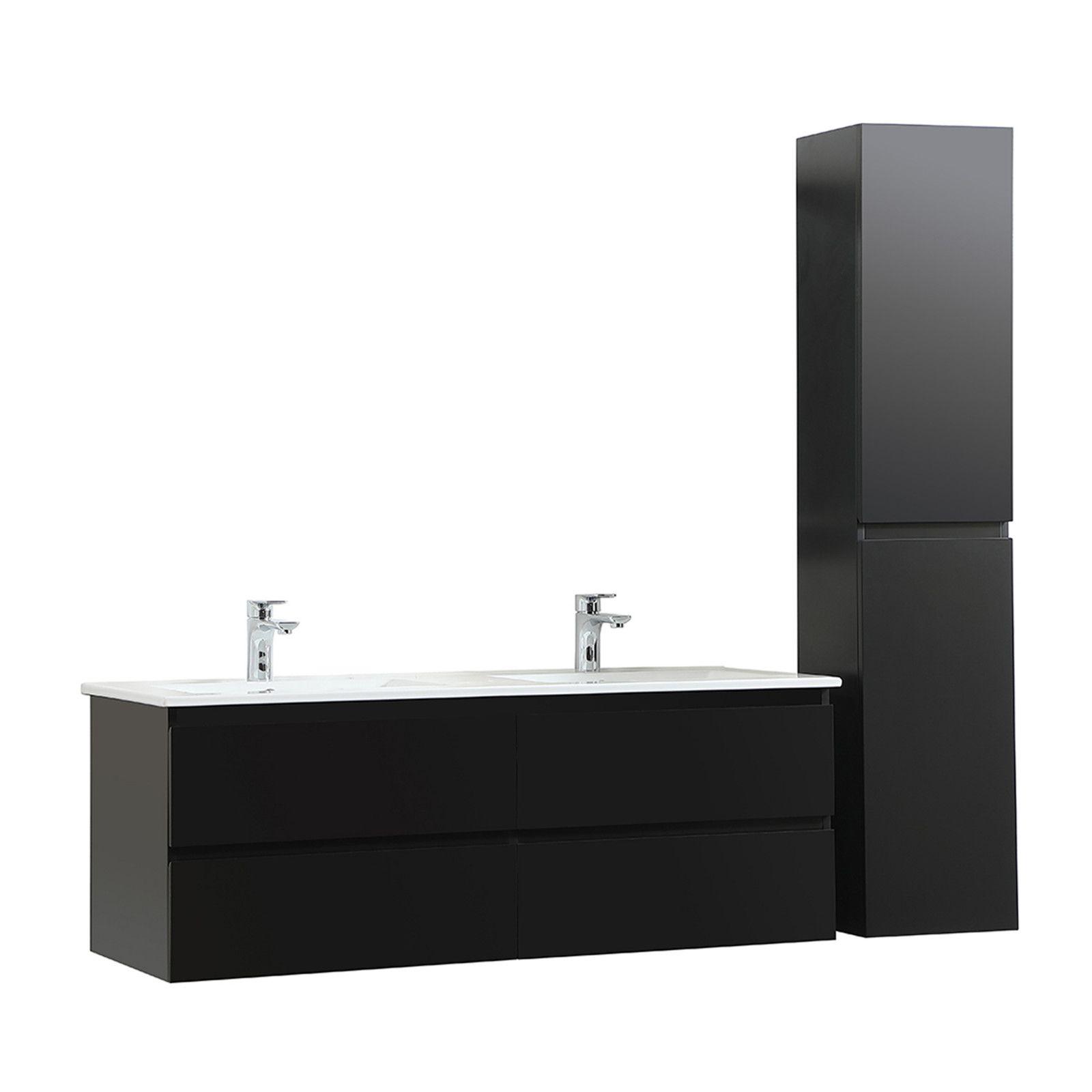 Meuble de Salle de Bain Double Vasque 120 cm + Colonne Noir Carbone SORRENTO