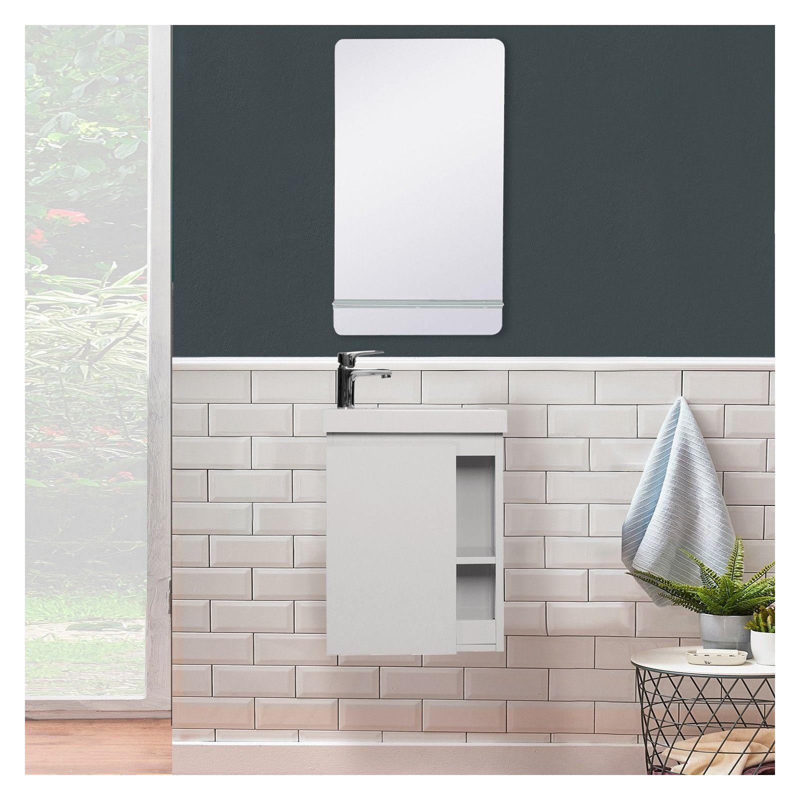 Lave-mains HAMPTON + Miroir Mural L40 cm tablette Blanche