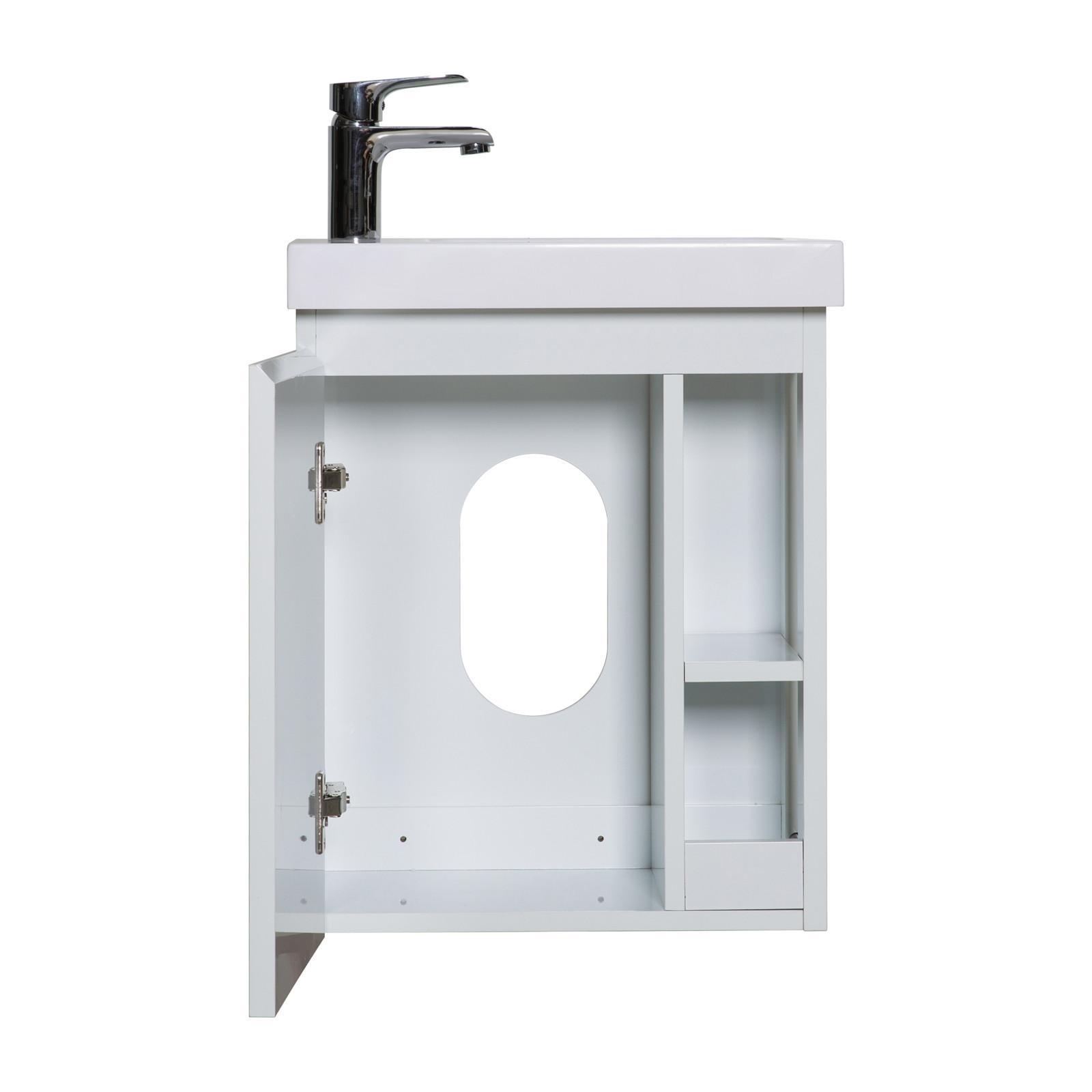 Meuble Lave-mains Blanc avec vasque Blanche HAMPTON + Miroir