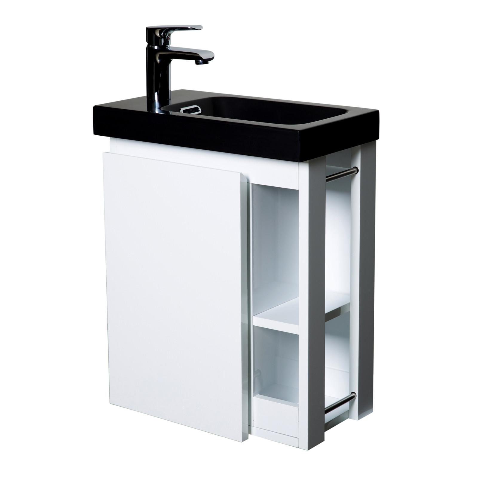 Meuble Lave-mains Blanc avec vasque Noire HAMPTON + Miroir