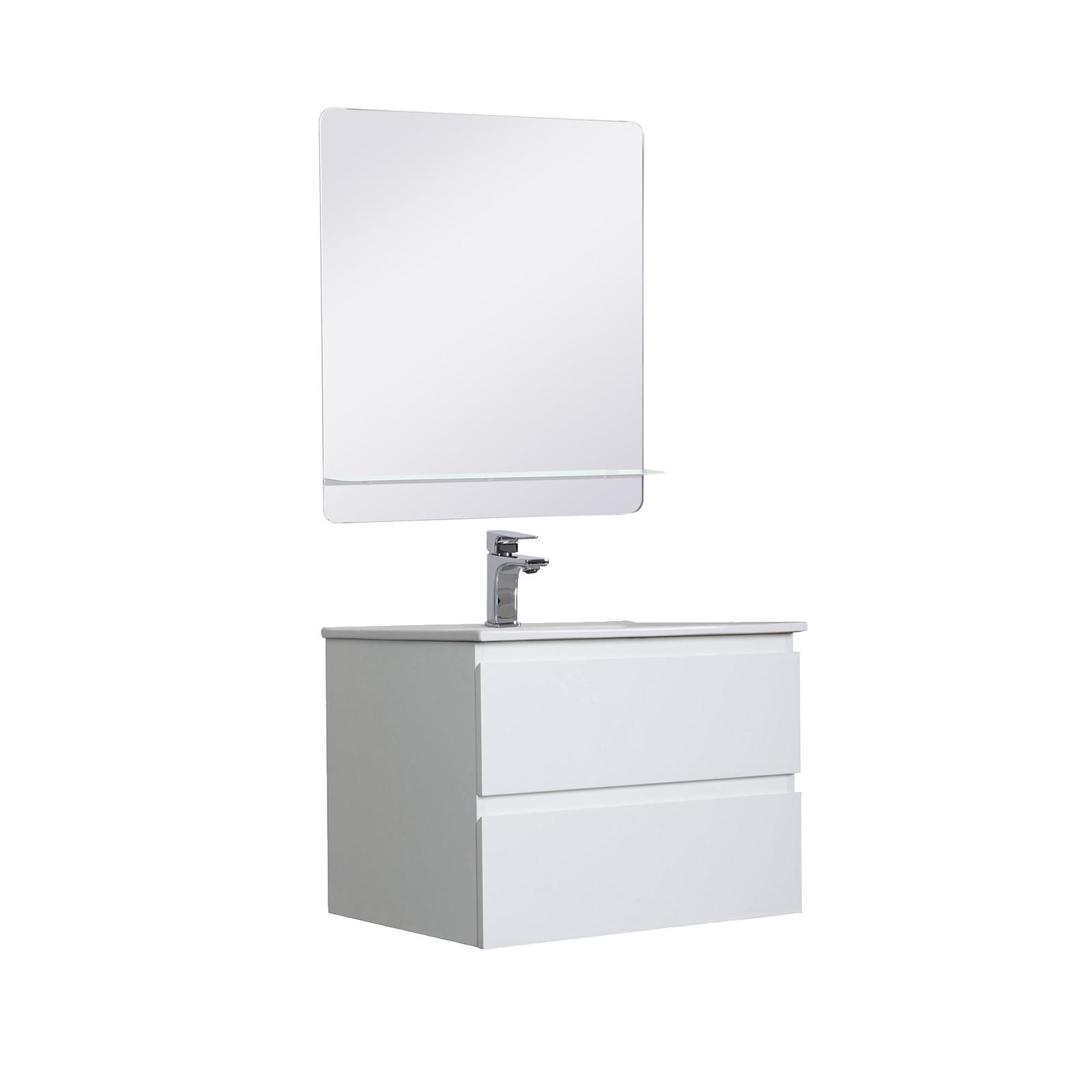 Meuble Salle de Bain 60 cm Suspendu Blanc + Miroir SORRENTO