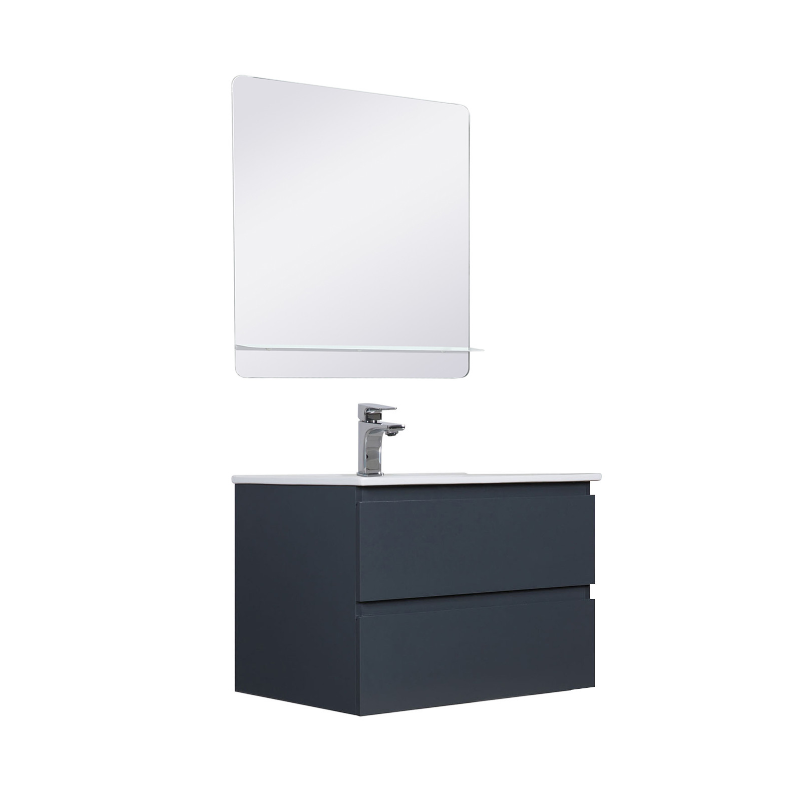 Meuble Salle de Bain 60 cm Suspendu Gris Anthracite + Miroir SORRENTO