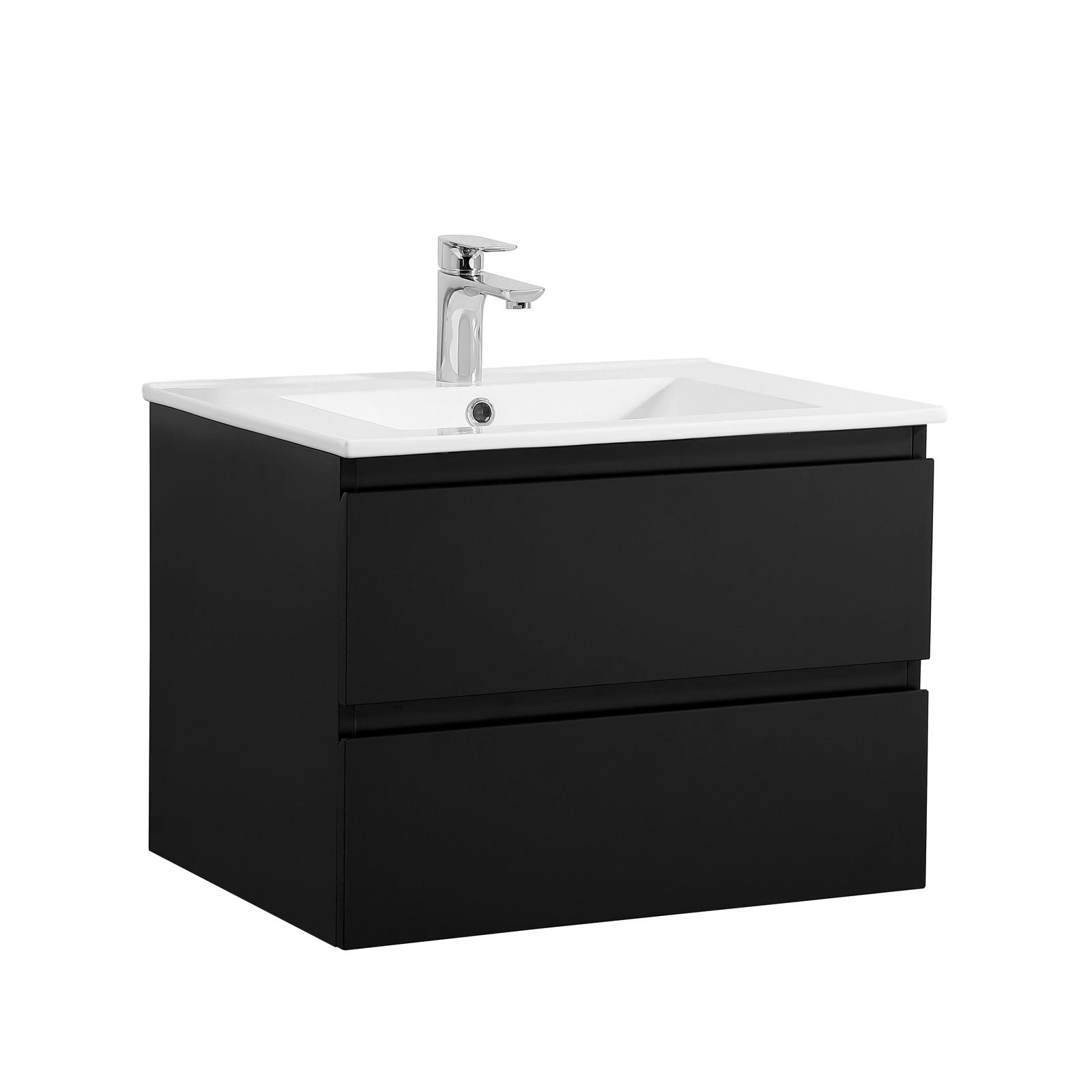Meuble Salle de Bain 60 cm Suspendu Noir Carbone + Miroir SORRENTO
