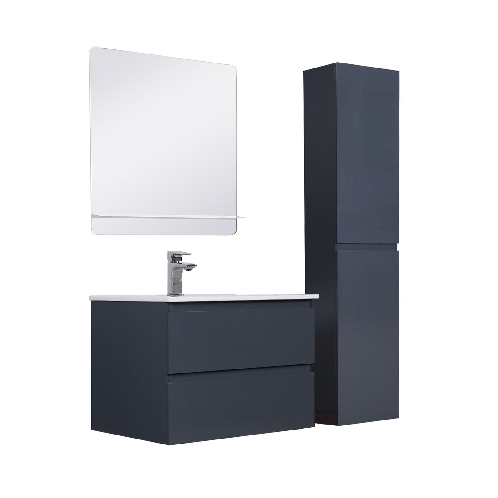 Meuble Salle de Bain 60 cm + Colonne Gris Anthracite + Miroir SORRENTO
