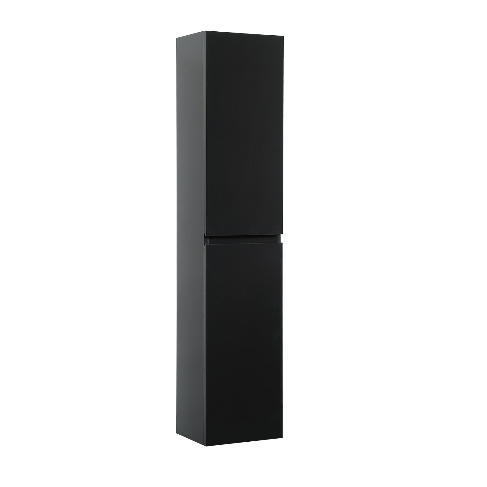 Meuble Salle de Bain 60 cm + Colonne Noir Carbone + Miroir SORRENTO