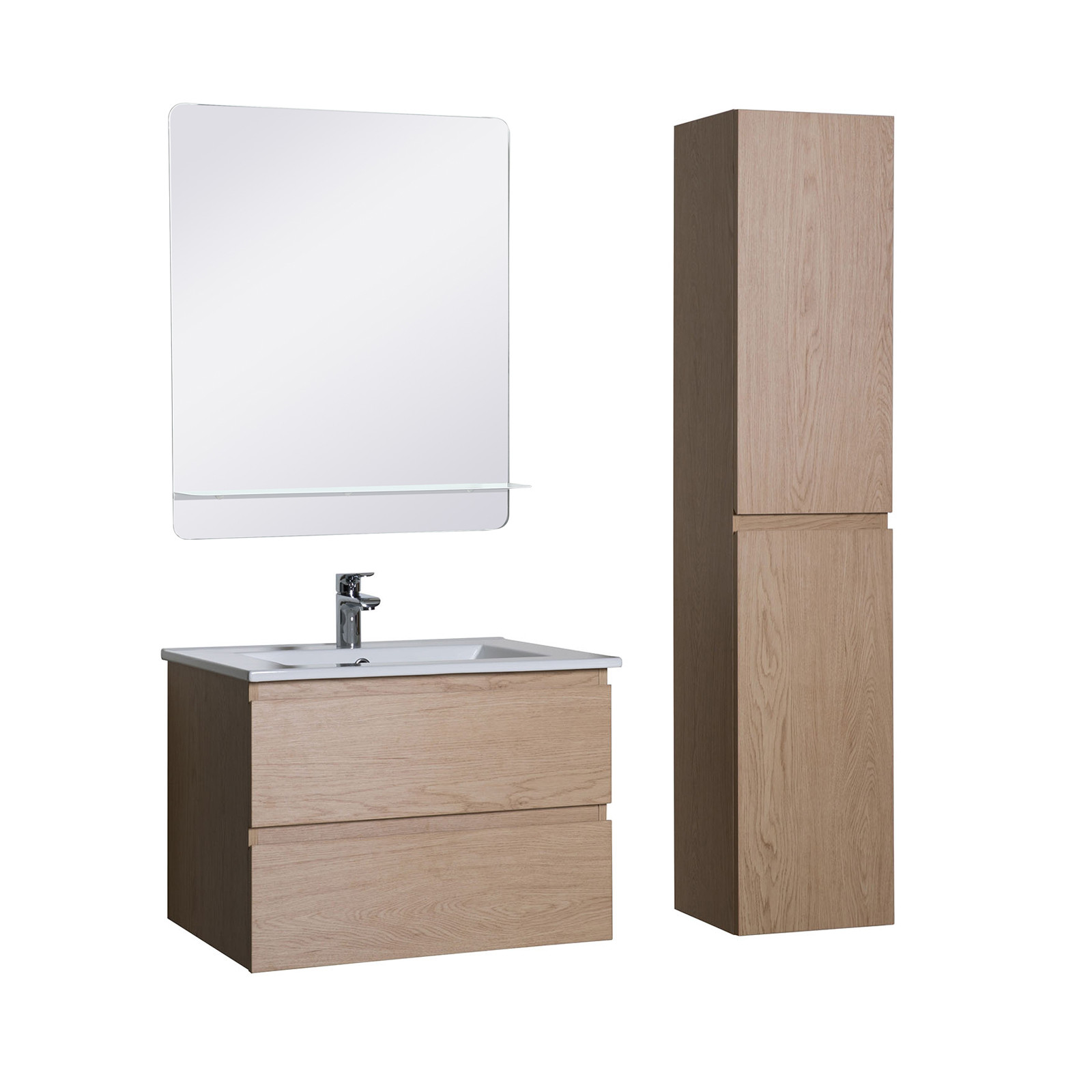 Meuble Salle de Bain 60 cm + Colonne décor Chêne + Miroir SORRENTO