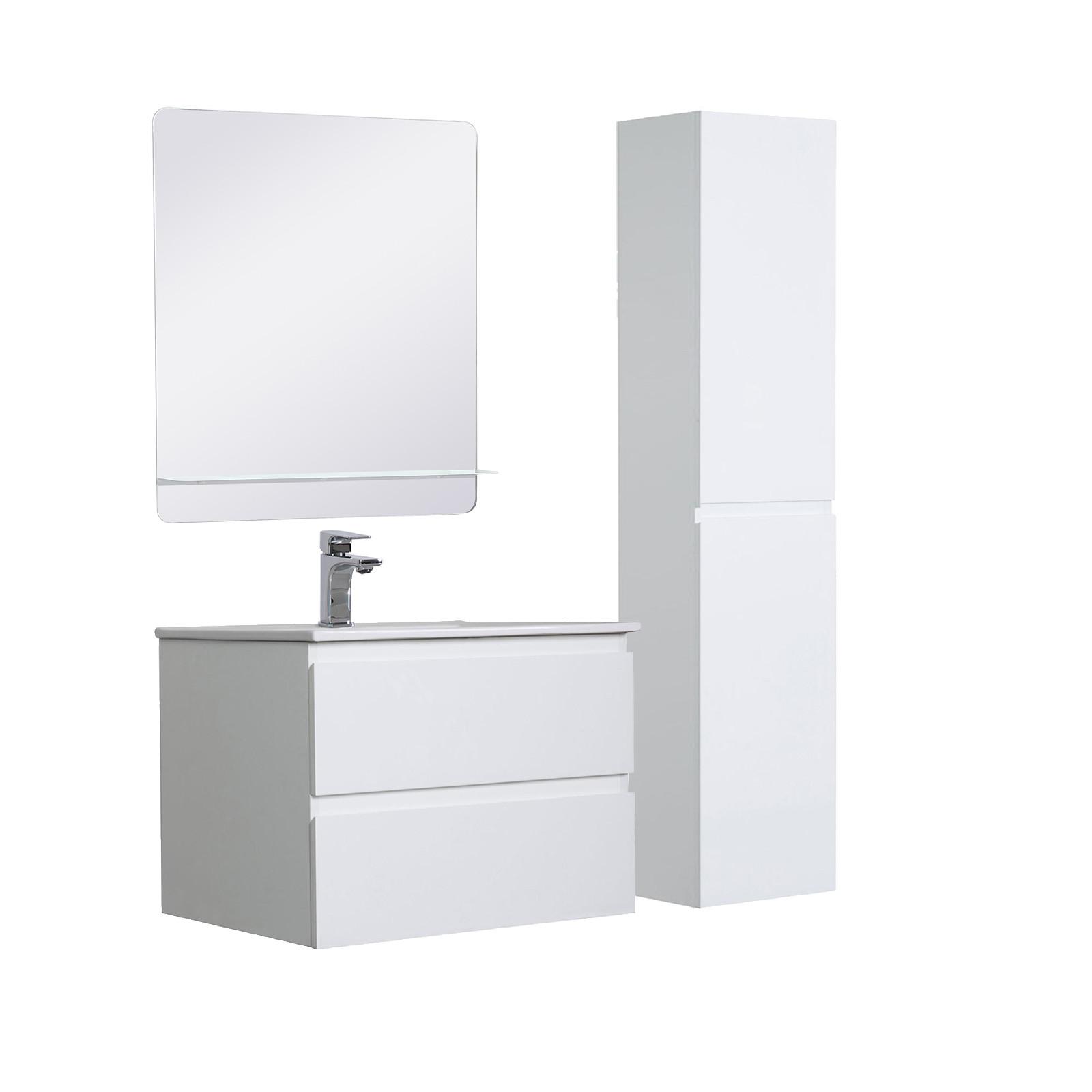 Meuble Salle de Bain 60 cm + Colonne Blanc + Miroir SORRENTO