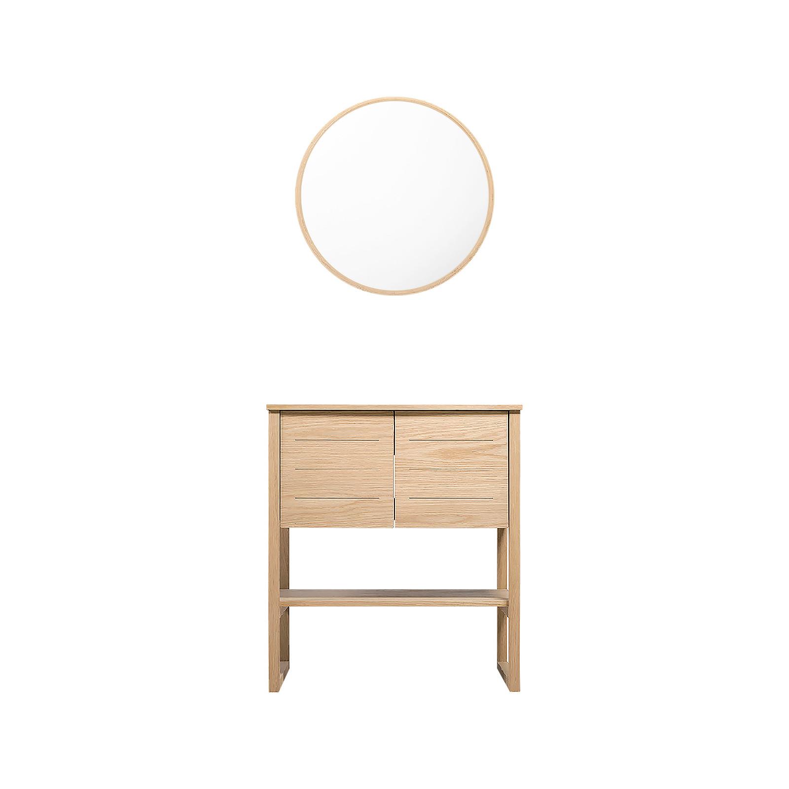 Meuble de Salle De Bain Chêne 70 cm ATOLL + Miroir  Rond en Bois VALI D60 cm