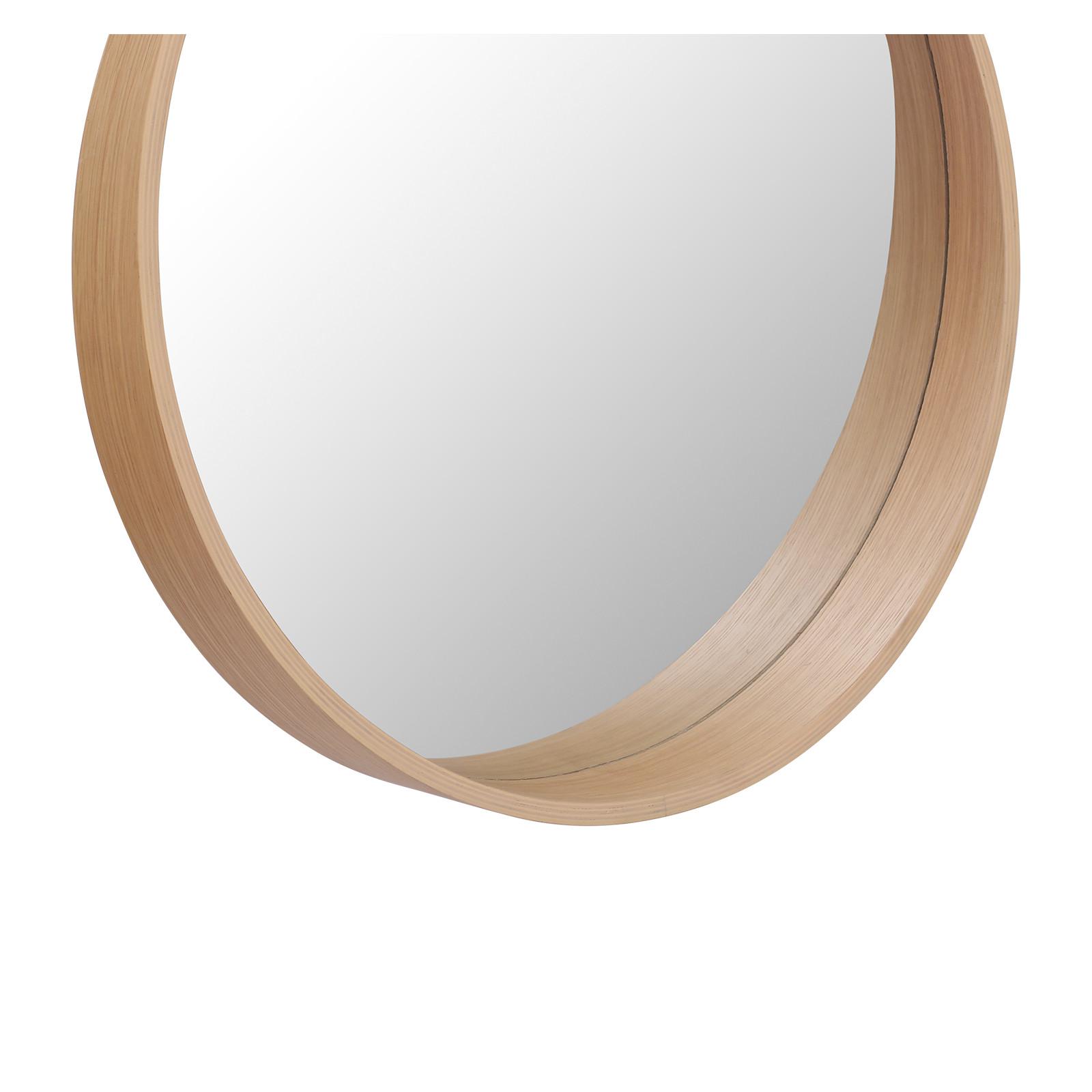 Meuble de Salle De Bain Chêne 120 cm ATOLL + 2 Miroirs Ronds en Bois VALI D60 cm