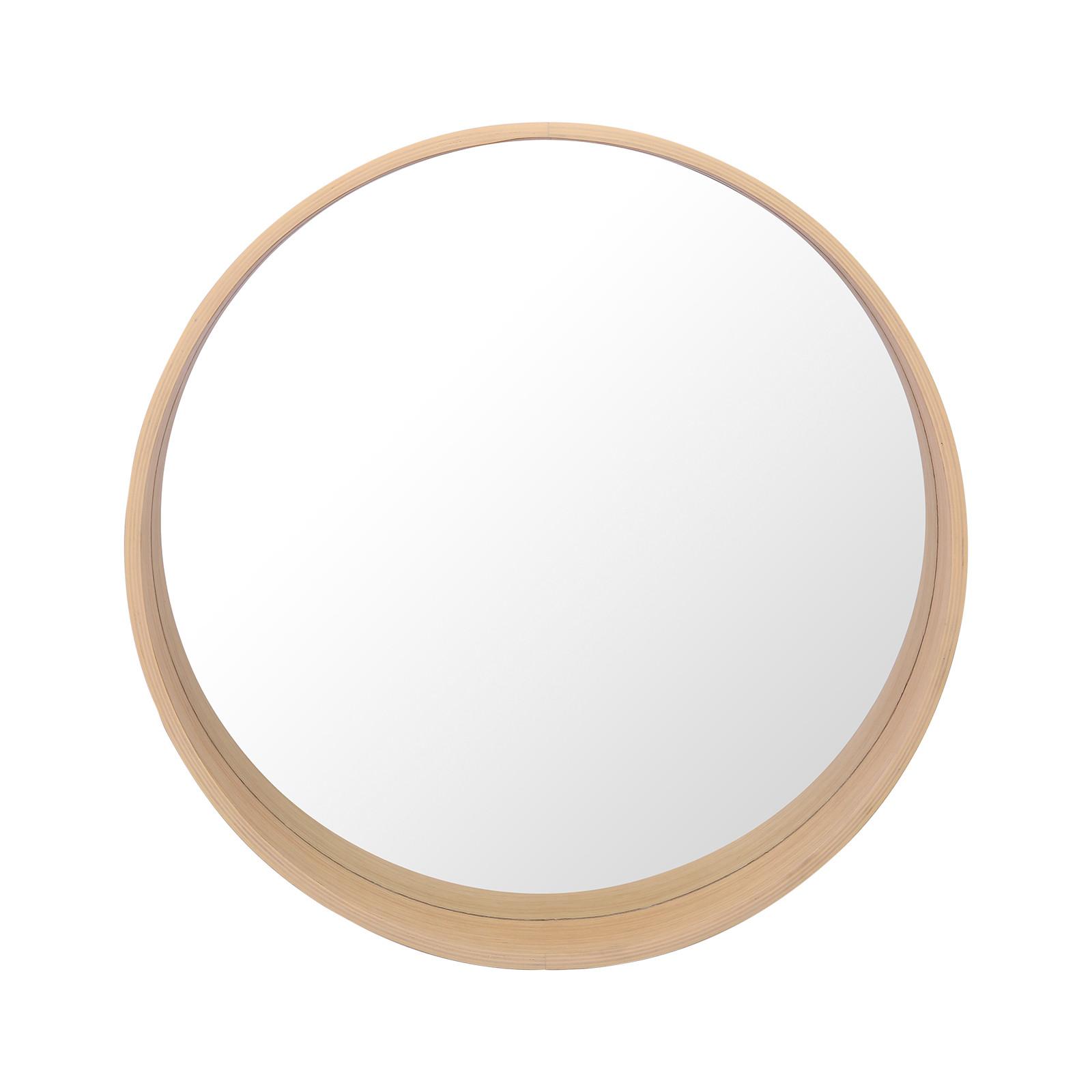 Meuble de Salle De Bain Chêne 70 cm ATOLL + Miroir Rond 60 cm + Vasque ronde 37 cm