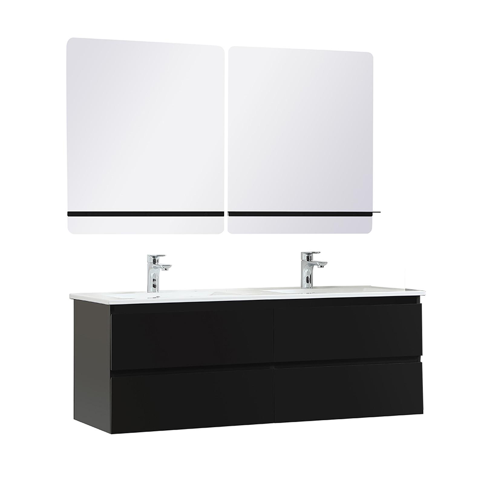Meuble de Salle de Bain Double Vasque 120 cm Noir Carbone + 2 miroirs SORRENTO