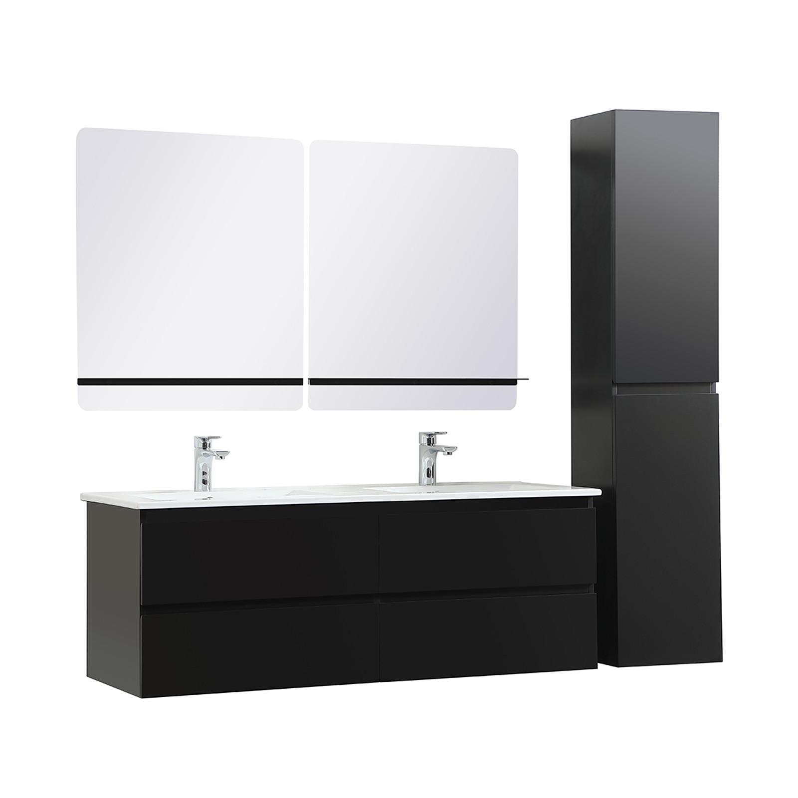 Meuble de Salle de Bain Double Vasque 120 cm Noir Carbone + Colonne + 2 miroirs SORRENTO