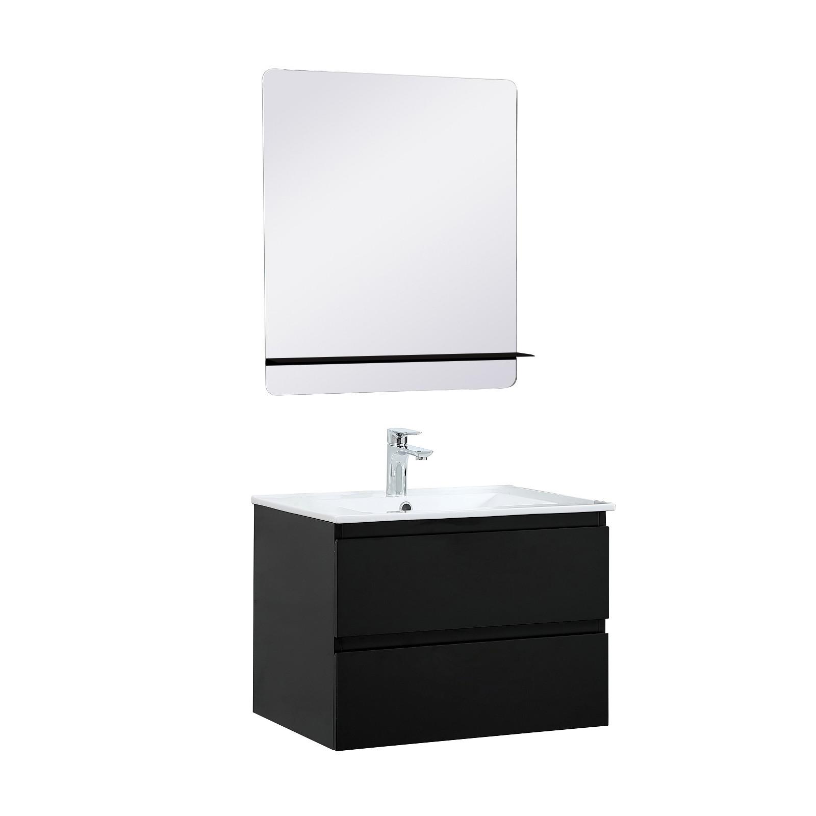 Meuble Salle de Bain 60 cm Suspendu Noir Carbone + Miroir tablette Noire SORRENTO
